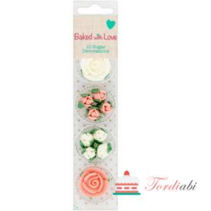 Tordiabi suhkrukaunistus roosid