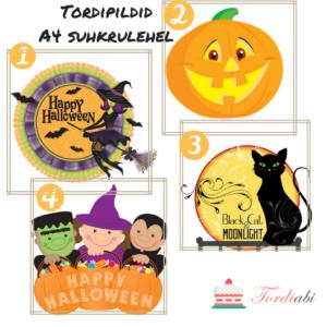 Halloweeni tordipildid A4 suhkrulehel