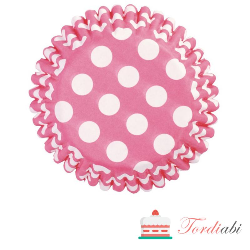 Tordiabi roosad täpilised muffinivormid