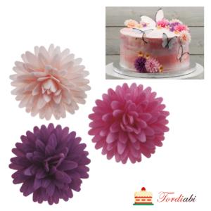 Tordiabi vahvlidekoor roosad lillad kreemikad astriõied 12 tk