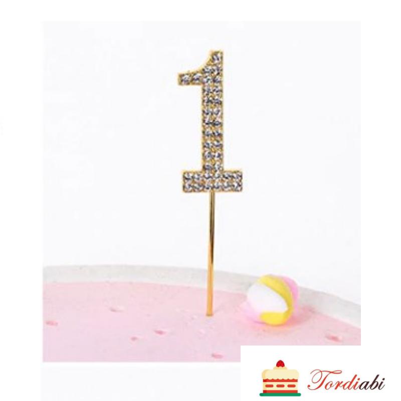 Tordiabi sädelev kuldne topper number üks