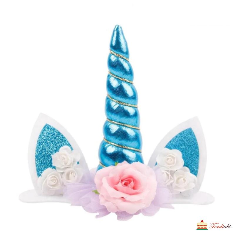 tordiabi-tordi-koogi-topper-ükssarvik-sinine-pärlmutter-roosid-valged-roosa