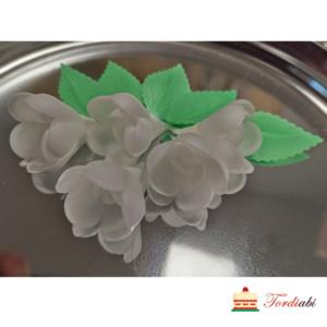 Tordiabi 5 valget vahvlist roosiõit lehtedega