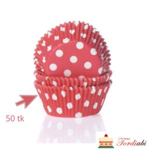 Tordiabi punased täpilised muffinivormid 50 tk