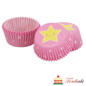 Tordiabi roosad tähega muffinivormid 50 tk