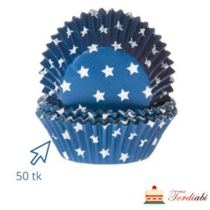 Tordiabi tumesinised tähekestega muffinivormid 50