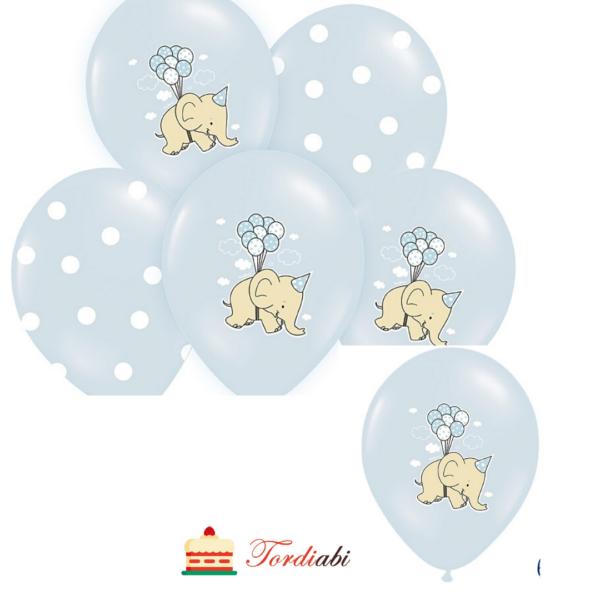 Tordiabi helesinised õhupallid elevandiga ja täpilised