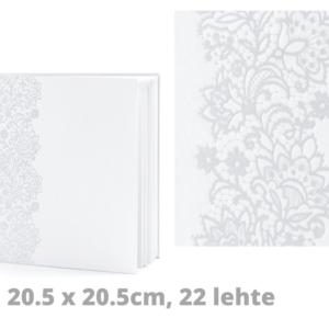 Valge külalisteraamat hõbedase ornamendiga 20.5 x 20.5cm