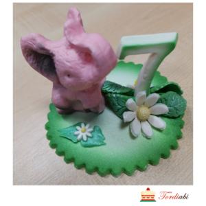 Tordiabi suhkrudekoor number 7 roosa elevandiga