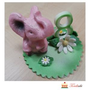 Tordiabi suhkrudekoor number 8 roosa elevandiga
