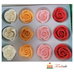 Tordiabi suhkrust 4 erinevat värvi roosiõied 12tk