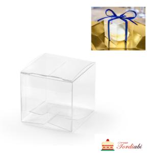 Tordiabi läbipaistev kuubikukujuline kinkekarp