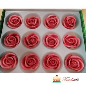 Tordiabi punased hõbedased roosid suhkrust 12 tk