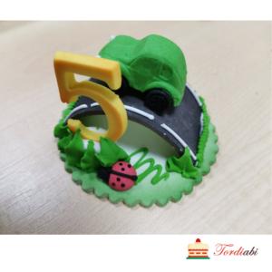 Tordiabi suhkrust sünnipäeva kuju number 5 autoga