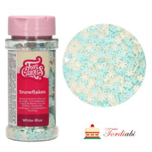 Tordiabi suhkrudekoor puiste helesinised valged lumehelbed FunCakes