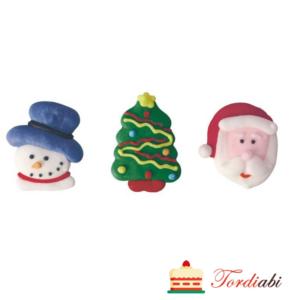 Tordiabi suhkrust jõuluvana, jõulukuusk ja lumememm