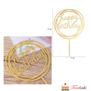 Tordiabi akrüülist kuldne topper Happy Birthday ümmargune