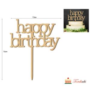 Tordiabi Happy Birthday väikese tähega puidust topper