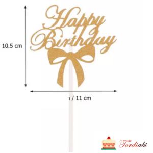 Tordiabi Happy Birthday paberist kuldne topper