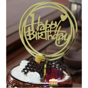 Tordiabi Happy Birthday südamega ringide sees akrüülist topper