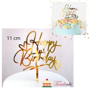 Tordiabi kuldne akrüülist topper Happy Birthday südametega