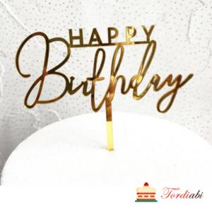 Tordiabi kuldne topper akrüülist HAPPY Birthday
