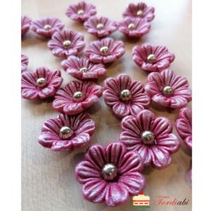 Tordiabi suhkrust roosad pärlmutter lilleõied pärlist südamikuga