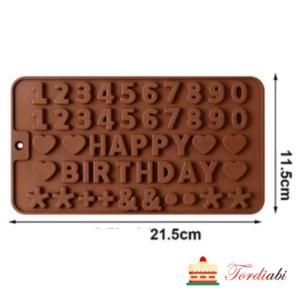 Tordiabi silikoonvorm numbrid ja tähed happy birthday