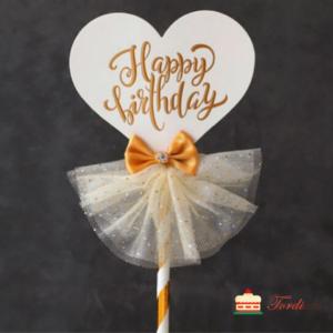 Tordiabi tordi topper happy birthday elegantne valge kleidiga