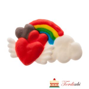Tordiabi suhkrudekoor värviline vikerkaar südametega