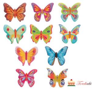 Tordiabi vahvlidekoor 10 erksavärvilist kirjut liblikat