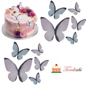 Tordiabi vahvlidekoor liblikad pastelsetes toonides 10 tk
