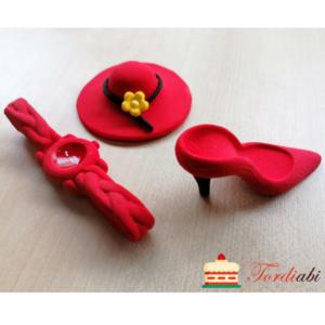 Tordiabi suhkrudekoor daami komplekt kübar, king, käekell punane