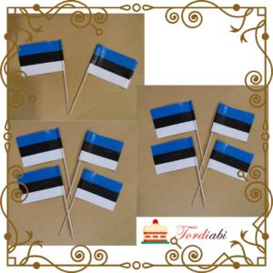 Tordiabi sinimustvalged lipukesed võileivatikud topperid 10 tk