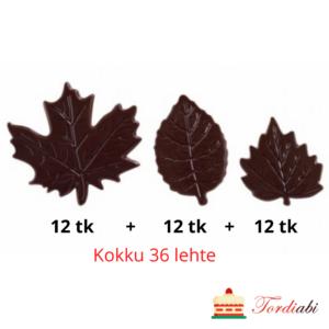 Tordiabi šokolaadidekoor vahtralehed puulehed tumedast šokolaadist