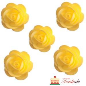Tordiabi vahvlidekoor kollased roosid 4,5 cm 5 tk