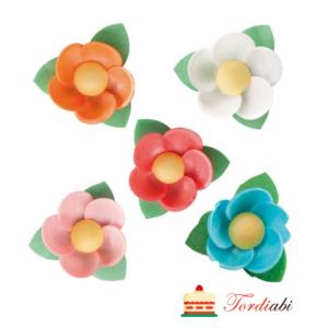 Tordiabi vahvlidekoor lilled lehtedega mix 5 lilleõit