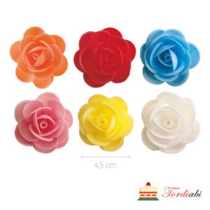 Tordiabi vahvlidekoor värvilised roosid 4,5 cm 50 tk