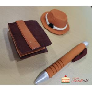Tordiabi isadepäeva suhkrudekoorid pruun pastakas, kaabu, rahakott