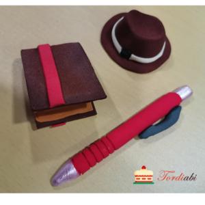 Tordiabi isadepäeva suhkrudekoorid punane pastakas, kaabu, rahakott