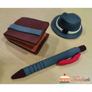 Tordiabi isadepäeva suhkrudekoorid sinakas-hall pastakas, kaabu, rahakott
