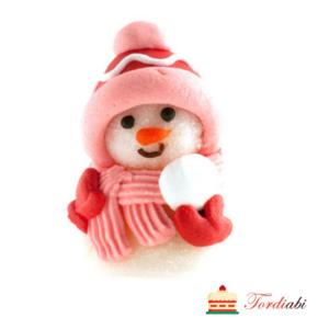 Tordiabi pehme suhkrudekoor roosa lumememm lumepalliga