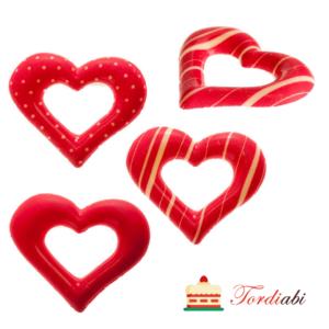 Tordiabi šokolaadidekoor punased 2D südamed (täpilised triibulised)