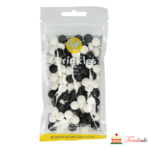 Tordiabi suhkrudekood puiste väikesed jalgpallid mustad ja valged