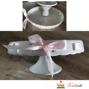 Tordiabi valge kõrge tordialus keraamiline roosa paelaga
